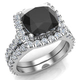 Black Diamond Cushion Cut Halo Diamond wedding rings for women 14K Gold 3.28 ctw (I,I1) - White Gold