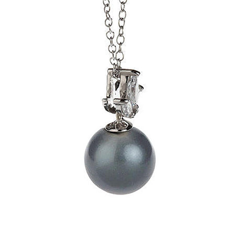 Epiphany Diamonique & Simulated Tahitian Pearl Pendant w/Chain