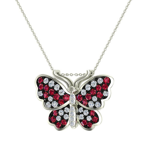 Butterfly Necklace Diamonds & Ruby 18K Gold Chain 0.78 ctw (G,VS) - White Gold