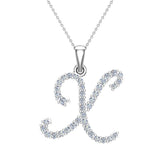 Initial Necklace X Letter charms Diamond pendant necklace 18K Gold (G,VS) - White Gold