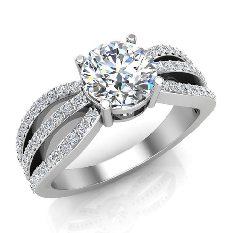 Magnificent Solitaire Round Diamond Trio Split Shank Engagement Ring 1.40 ctw 14K Gold (G,I1) - White Gold