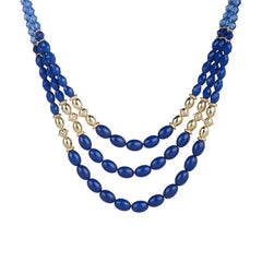 Triple Strand Faceted Bead and Crystal Necklace