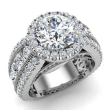 Moissanite Engagement Rings 18K Gold Real Diamond accented Ring Channel Set 4.90 carat tw (G,VS) - White Gold