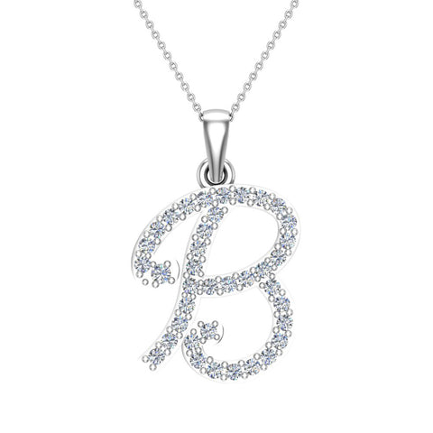 Initial Necklace B Letter charms Diamond pendant necklace 18K Gold (G,VS) - White Gold