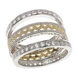 Diamonique Sterling 1.20 ct tw Eternity 3pc Ring Set