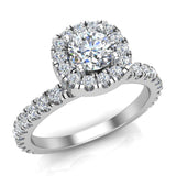 Petite Engagement rings for women Cushion Halo Round Brilliant diamond ring 18K Gold 1.05 carat (G,SI) - White Gold