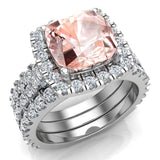 Pink Morganite Cushion Cut Halo Diamond wedding rings for women 14K Gold 3.85 ctw (G,SI) - White Gold