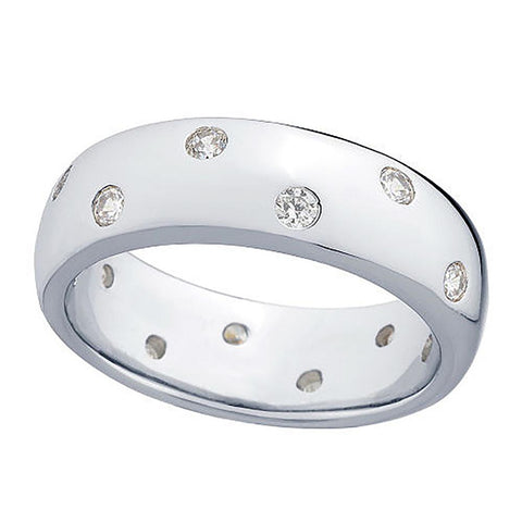 Epiphany Platinum Clad Diamonique Scattered Stone Silk Fit Band