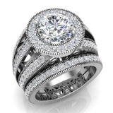 Large Moissanite Wedding Ring Set 14K Gold Halo Rings for women 8.00 mm 3.95 carat (I,I1) - White Gold