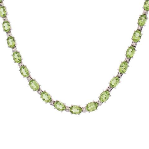 "30.00 ct tw Oval Peridot Sterling17-1/4"" Tennis Necklace"