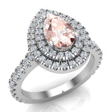 Pear Cut Pink Morganite Double Halo Engagement Ring 14K Gold (G,SI) - White Gold