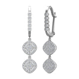 Cushion Diamond Dangle Earrings Dainty Drop Style 18K Gold 1.10 ctw (G,VS) - White Gold