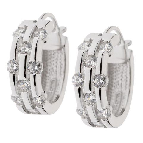 Epiphany Platinum Clad Diamonique Scattered Stone Hoop Earrings