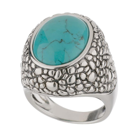 Sterling Oval Cabochon Gemstone Cobblestone Ring