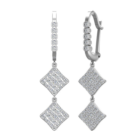 Square Diamond Dangle Earrings Dainty Drop Style 14K Gold 1.10 ctw (I,I1) - White Gold