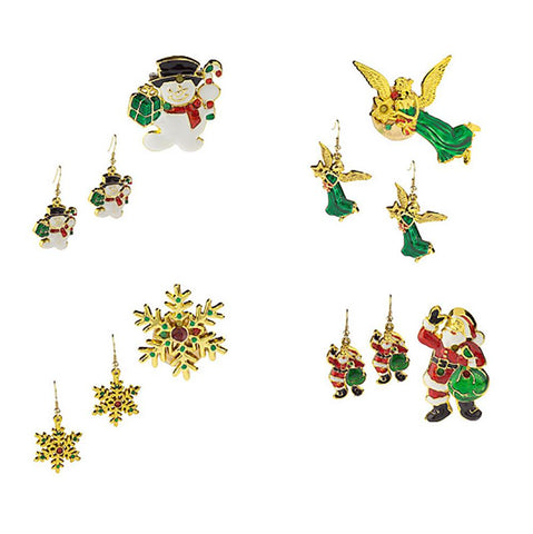 Set of 4 Flashing Holiday Pins w/ Coordinating Earrings
