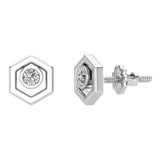Diamond Earrings Hexagon Shape Studs Bezel Settings 10K Gold (J,SI2-I1) - White Gold