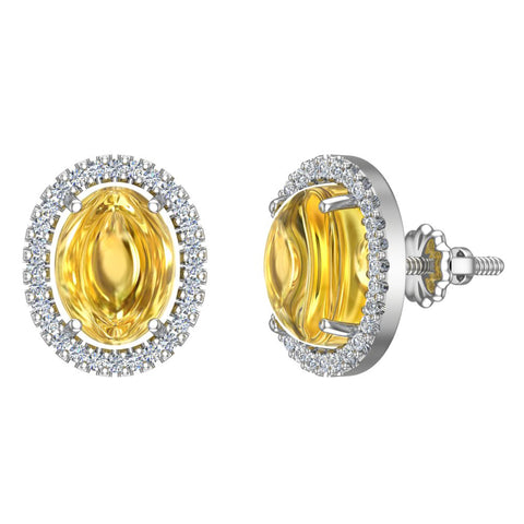 4.34 ct tw Yellow citrine & Diamond Cabochon Stud Earring In 14k Gold (G, I1) - White Gold