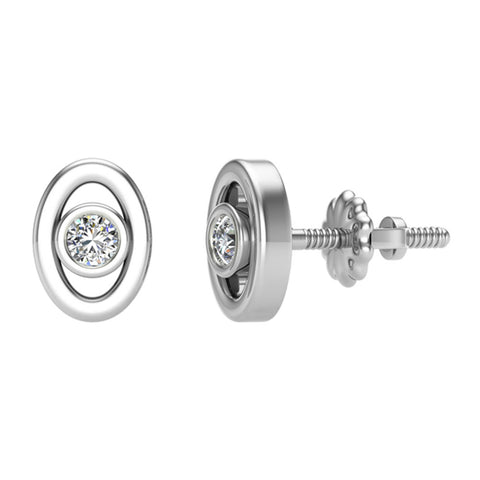 Diamond Earrings Oval Shape Studs Bezel Settings 10K Gold (J,SI2-I1) - White Gold