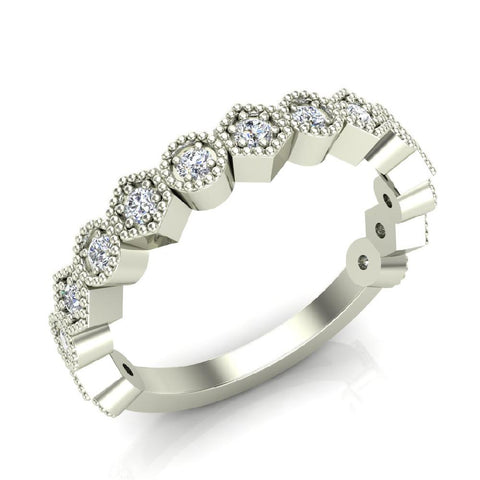 Stacking Circle & Hexagons Milgrain Diamond Wedding Band 0.34 ctw 18K Solid Gold (G,SI) - White Gold