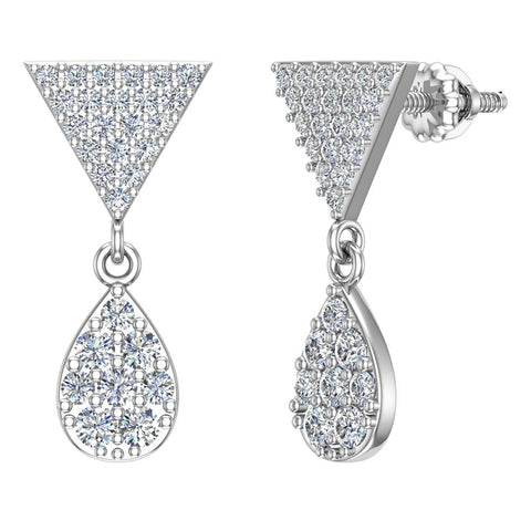 Diamond Dangle Earrings Tear Drop Pattern Cluster Triangle Top 14K Gold 0.72 ctw (G,SI) - White Gold