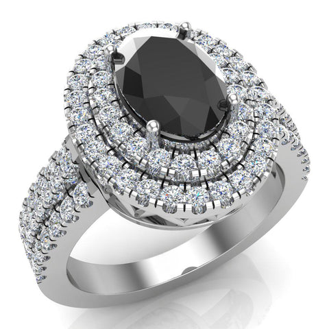 Black Diamond Engagement Rings for Women Oval Cut 18K Gold Diamond  Halo 2.65 carat (G,VS) - White Gold