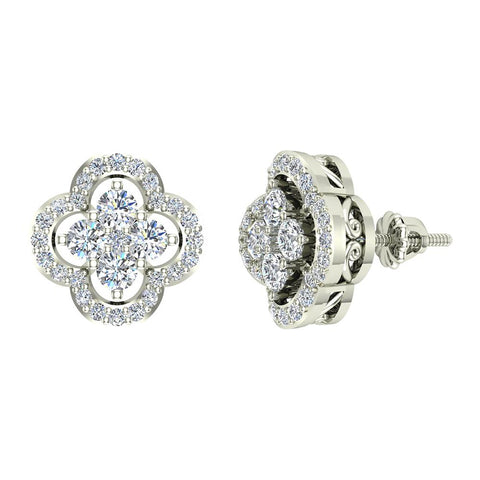 0.96 ct Unique Diamond Loop Stud Earrings Cluster 18K Gold (G,VS) - White Gold