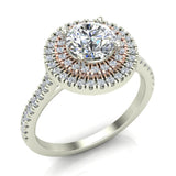 1.13 ct Twin Halo Engagement Ring Two-tone 14K Rose & White Gold (I,I1) - White Gold