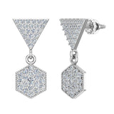 Hexagon Diamond Dangle Earrings 14K Gold (G,SI) - White Gold