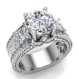 Moissanite Engagement Ring for Women 8.00 mm 5.35 carat Past Present Future Style 14K Gold (I,I1) - White Gold