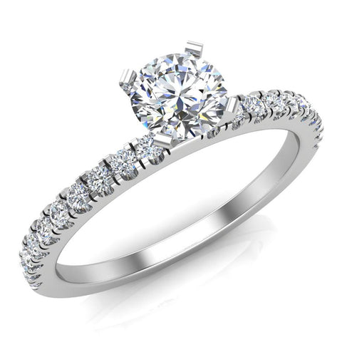 Petite Engagement rings for women Round Brilliant Cut diamond ring 18K Gold 0.65 carat (G,VS) - White Gold