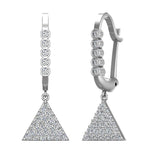 Triangle Diamond Dangle Earrings Dainty Drop Style 14K Gold 0.50 ctw (I,I1) - White Gold