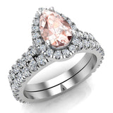 Pear Cut Pink Morganite Halo Wedding Ring Set 18K Gold (G,VS) - White Gold
