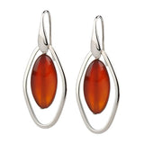 Simona Collini Steel Oval Gemstone Dangle Earrings