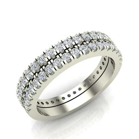 Exquisite Stacking Diamond Eternity Wedding Bands 0.86 ctw 14K Gold (G,I1) - White Gold