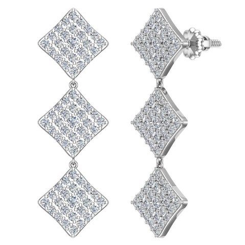 Square Diamond Chandelier Earrings Waterfall Style 14K Gold (G,SI) - White Gold