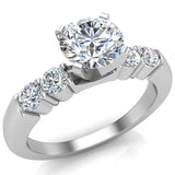 Five Stone Engagement Solitaire Ring 14K Gold (G,SI) - White Gold