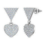 Heart Diamond Dangle Earrings 14K Gold (G,SI) - White Gold