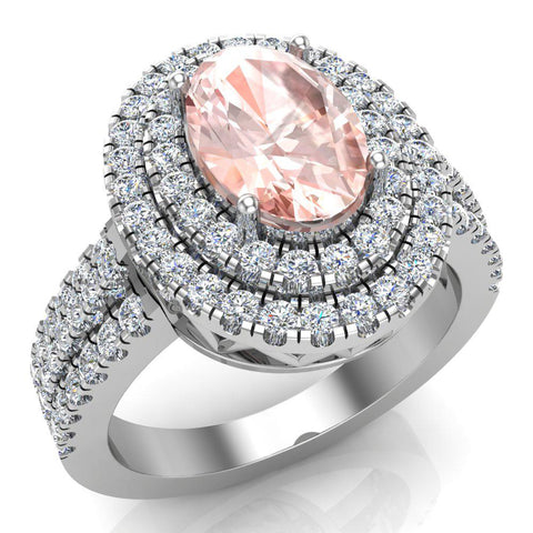 Oval Morganite Engagement Rings for Women 14K Gold Diamond Halo 2.65 carat (G,SI) - White Gold