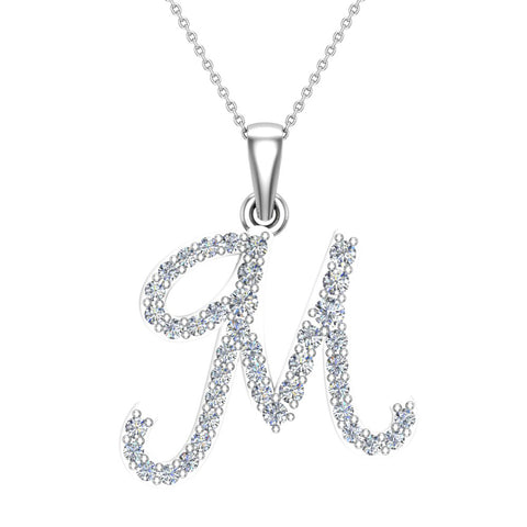 Initial Necklace M Letter charms Diamond pendant necklace 18K Gold (G,VS) - White Gold