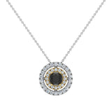 Round Cut Black Diamond Double Halo 2 tone necklace 14K Gold (G,I1) - Yellow Gold