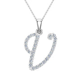 Initial Necklace V Letter charms Diamond pendant necklace 18K Gold (G,VS) - White Gold