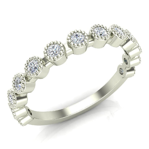 Stacking Bezel Set Milgrain Outline Round Diamond Friendversary Band 0.33 ctw 18K Gold (G,SI) - White Gold