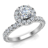Petite Engagement rings for women Halo Round Brilliant Cut diamond ring 18K Gold 1.05 carat (G,VS) - White Gold