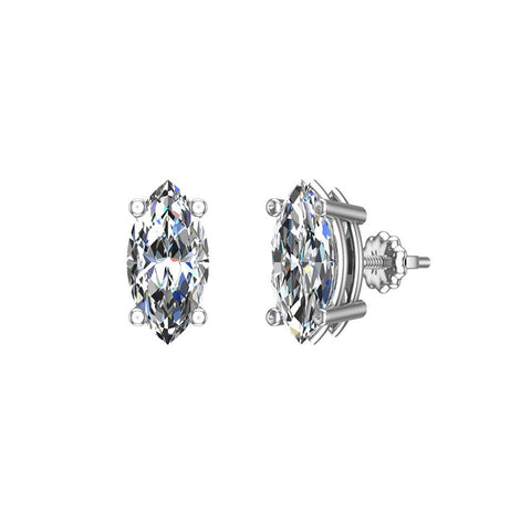 Diamond Stud Earrings Marquise Cut Natural Earth-Mined 14k Gold (I,I1) - White Gold