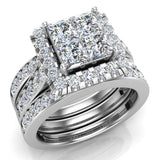 Princess Cut Quad Halo Wedding Ring Set w/ Enhancer Bands Bridal 14K Gold (I,I1) - White Gold