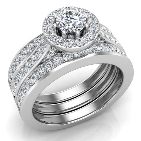 Exquisite 8 prong setting Round Cut Halo Wedding Ring Set w/ Enhancer Bands 18K Gold (G,VS) - White Gold