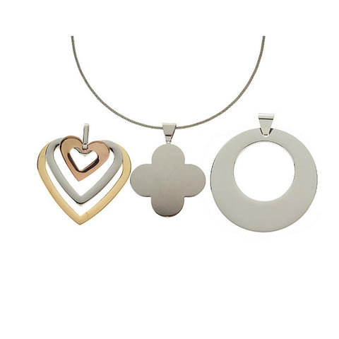 Steel by Design Set of 3 Pendants w/ Necklace Stainless Steel