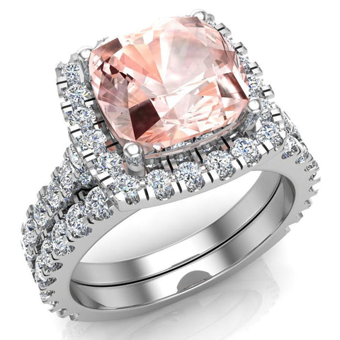 Pink Morganite Cushion Cut Halo Diamond wedding rings for women 18K Gold 3.28 ctw (G,VS) - White Gold