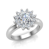 Classic Floral Halo Diamond Engagement Rings Round brilliant diamond ring 18K Gold 1.05 carat (G,SI) - White Gold
